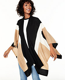 Charter Club Colorblock Cashmere Wrap, Created for Macy's