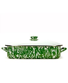 Golden Rabbit Green Swirl Collection 10.5 Quart Roasting Pan