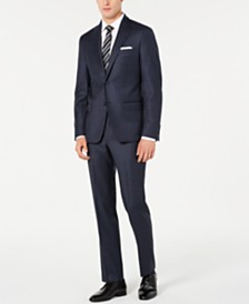 DKNY Men's Modern-Fit Stretch Navy Blue Double Pinstripe Suit Separates