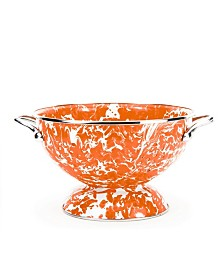 Golden Rabbit Orange Swirl Enamelware Collection 1.5 Quart Colander