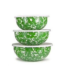 Golden Rabbit Green Swirl Enamelware Collection Mixing Bowls, Set of 3