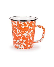 Golden Rabbit Orange Swirl Enamelware Collection Latte Mug, 16oz