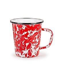 Red Swirl Enamelware Collection Latte Mug, 16oz