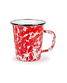 Golden Rabbit Red Swirl Enamelware Collection Latte Mug, 16oz