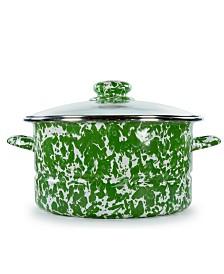 Golden Rabbit Green Swirl Enamelware Collection 6 Quart Stock Pot
