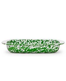 Golden Rabbit Green Swirl Enamelware Collection 3 Quart Baking Pan
