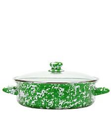 Golden Rabbit Green Swirl Enamelware Collection 5 Quart Saute Pan