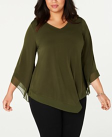 Alfani Plus Size Point-Hem Blouse, Created for Macy's