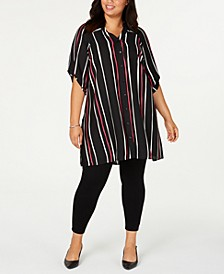 Plus Size Striped Button-Front Tunic, Created for Macy's