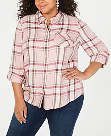 Plus Size Plaid Button-Up Shirt, Created for Macy's