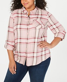 Style & Co Plus Size Plaid Button-Up Shirt, Created for Macy's