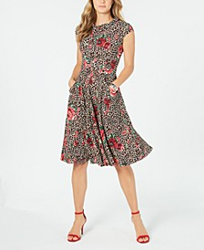 Petite Mixed-Print Fit & Flare Dress
