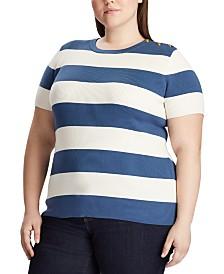 Lauren Ralph Lauren Plus Size Button-Trim Short-Sleeve Sweater