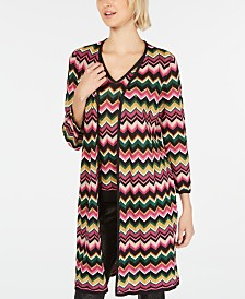 I.N.C. Petite Open-Front Chevron-Knit Cardigan, Created for Macy's