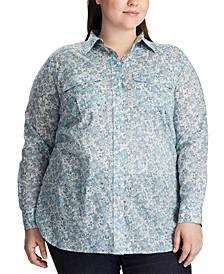 Plus Size Floral-Print Cotton Voile Shirt