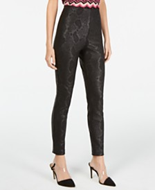 I.N.C. Petite Metallic Python-Embossed Skinny Pants, Created For Macy's