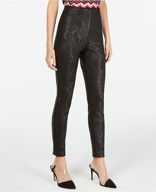 INC International Concepts INC Petite Metallic Python-Embossed Skinny Pants, Created For Macy's