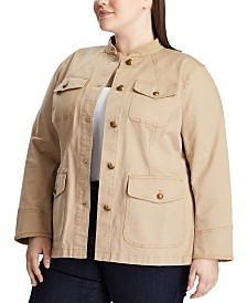 Lauren Ralph Lauren Plus Size Utility-Look Canvas Jacket