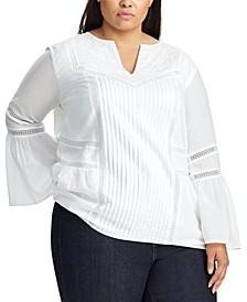 Plus Size Floral-Embroidery Cotton Peasant Top