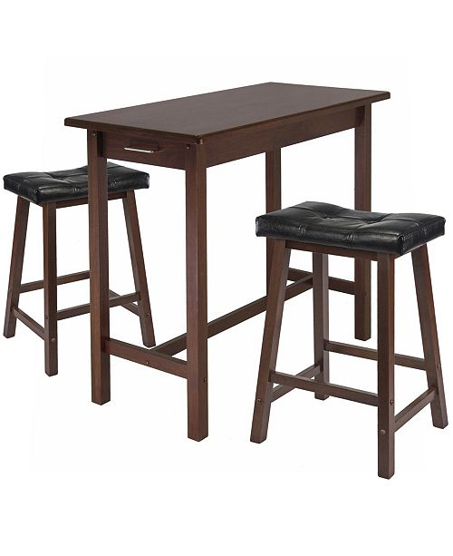Winsome Sally 3-Piece Breakfast Table Set with 2 Cushion Saddle Seat Stools