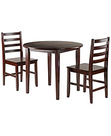 Clayton 3-Piece Drop Leaf Table with 2 Ladderback Chairs Set