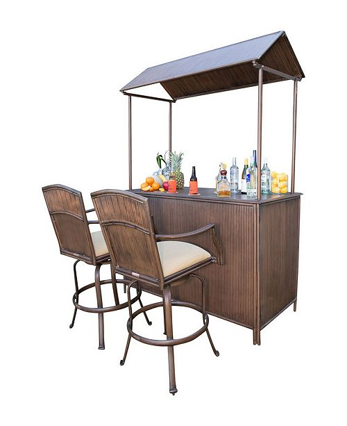 Panama Jack Home Panama Jack Tiki Bar 3 Piece Barstool Set with Cushions