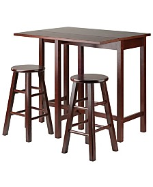 Winsome Wood Lynnwood Drop Leaf Island Table with 2 Square Legs Stool