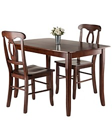 Inglewood 3-Piece Dining Table with 2 Key Hole Back Chairs Set
