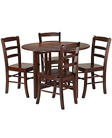 Alamo 5-Piece Round Drop Leaf Table with 4 Ladder Back