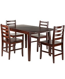Winsome Wood Anna 5-Piece Dining Table Set with Ladder Back Chairs