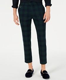 I.N.C. Men's Slim-Fit Cropped Tartan Pants, Created for Macy's