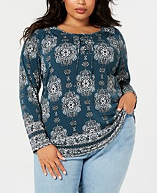 Plus Size Printed Lace-Up Top, Created for Macy's