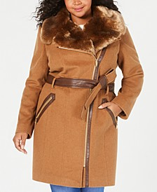 Plus Size Asymmetrical Belted Faux-Fur-Collar Coat, Created For Macy's