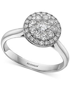 EFFY® Diamond Halo Cluster Engagement Ring (3/4 ct. t.w.) in 14k White Gold