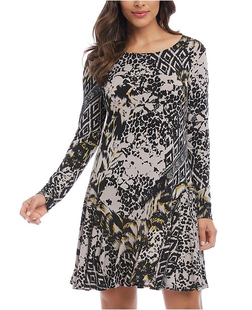Karen Kane Mixed-Print A-Line Dress