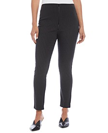 Pinstriped Pull-On Skinny Pants