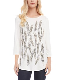 Karen Kane Feather-Print Tunic T-Shirt