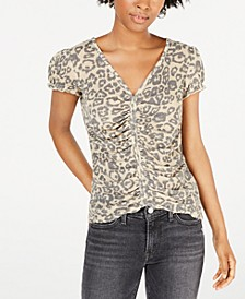Juniors' Cinched-Front Waffle-Knit Top