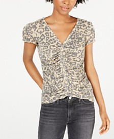 Ultra Flirt Juniors' Cinched-Front Waffle-Knit Top