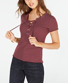 Hippie Rose Juniors' Lace-Up Rib-Knit Top