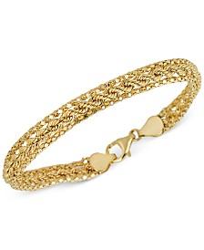 Italian Gold Popcorn Rope Triple Strand Bracelet in 14k Gold