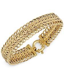 Italian Gold Woven Textured Bracelet in 18k Gold
