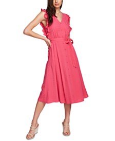 1.STATE Ruffled-Sleeve A-Line Midi Dress
