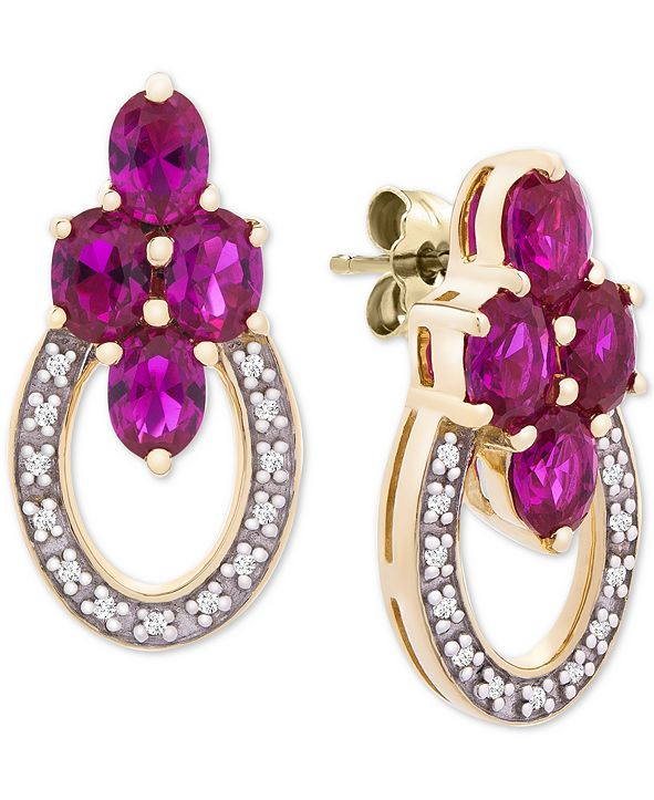 Macy's Certified Ruby (1-3/4 ct. t.w.) & Diamond Accent Drop Earrings in 14k Gold