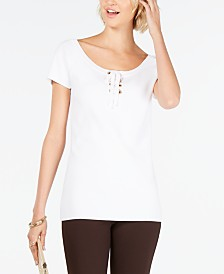 I.N.C. Solid Lace-Up Top, Created for Macy's