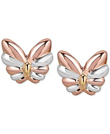 Two-Tone Butterfly Stud Earrings in 10k White Gold, Rose Gold and Yellow Gold