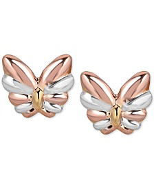 Italian Gold Two-Tone Butterfly Stud Earrings in 10k White Gold, Rose Gold and Yellow Gold