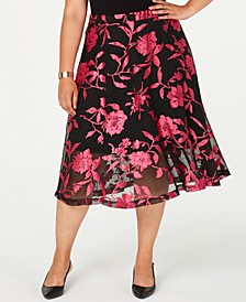 Plus Size Burnout Jacquard Midi Skirt, Created for Macy's