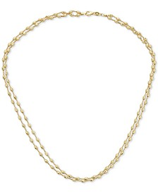 "Two-Tone Beaded Double Strand 18"" Chain Necklace in 14k Gold"