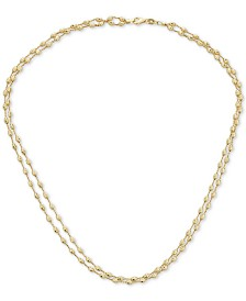 "Italian Gold Two-Tone Beaded Double Strand 18"" Chain Necklace in 14k Gold"
